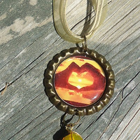 Bright Sunset Through Hand Heart, Bottle Cap Charm Necklace
