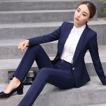 Plus Size S-4XL Ladies Pant Suits For Women Autumn Fashion Slim Business Office 2 Pieces Trouser Suit