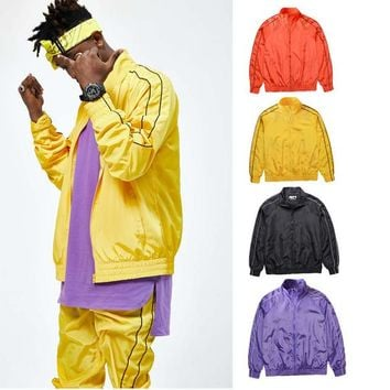 2017SS japan hip hop 90s stylish men fiber optic clothing nylon waterproof jacket windbreaker Casual zippers striped jackets