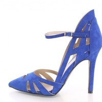 Cobalt Blue Closed Toe Single Sole Heels Faux Suede
