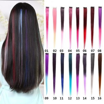 "28 Colors Available Lot Clip In Hair Extensions 20"" 50CM Synthetic Hair Long Straight Ombre Grey Blonde Red Blue Clip On Hair Pi"