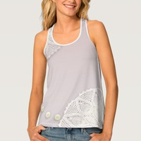 Shabby Chic Doilies Pearls Pink Womens Tank Top