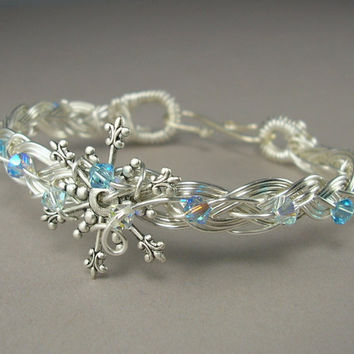 Winter Wire Wrapped Bracelet Snowflake by silverowlcreations