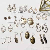 A195 Punk funny Golden Statement Human Face Abstract Earrings Metal Mask Face Earrings Women Boho Jewelry Bijuteria Gifts