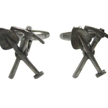 Silver Toned Textured Pick and Shovel Cufflinks