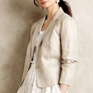 Shimmered Linen Blazer by Cartonnier Silver