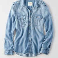 AEO Denim Boyfriend Utility Shirt, Medium Wash