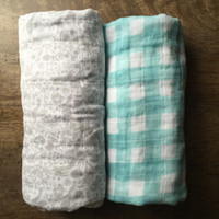 Swaddle Blankets, Gray and Aqua Blankets, Lightweight Double Gauze Blankets, Car Seat, Stroller Blankets,  Baby Gift Set, Neutral Blankets