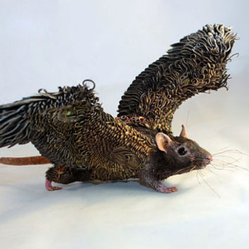 Black Rat Mouse Winged figurine art sculpture pet, Rat angel, rat totem, amulet, fairy, fantasy