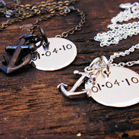 His and Her Jewelry Gift Sets, Matching Couple Anchor necklaces