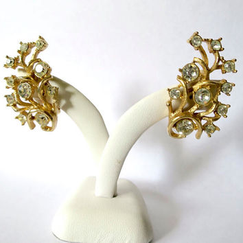Rhinestone Earrings Gold Twining Branches w/ Clear Glass Rhinestones Sets Mid Century Ear Climber Clip Earrings Signed Sarah Coventry