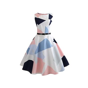 Retro Inspired Geometric Swing Dress, Sizes Small - 2XLarge