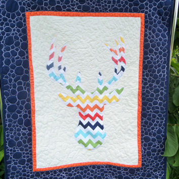 Modern Chevron deer baby quilt - Homemade deer blanket - The camo compromise