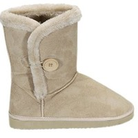 Baulina Womens Faux Fur Button Shearling Boots Beige