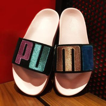 PUMA Embroidery Cool slippers Rihanna Slippers Women Casual slippers B-MDTY-SHINING Colorful Sequin