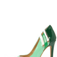 See and Be Seen Green and Lucite Pumps