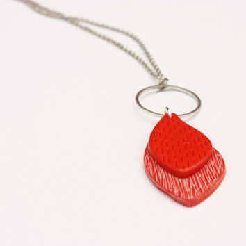 Red feather necklace, abstract minimal leaf pendant, polymer clay jewelry