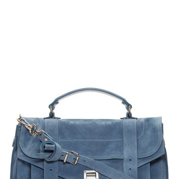Proenza Schouler Breeze Blue Suede Ps1 Medium Messenger Bag
