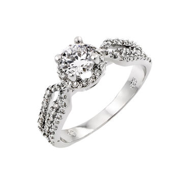 925 Sterling Silver Ladies Jewelry This Is A Infinity Single Birthstone Ring w/ Clear Cubic Zirconia Pave.Ring Center Dimensions Are 7mm X 7.3mm Band Width Is 2.1mm: Size: 5