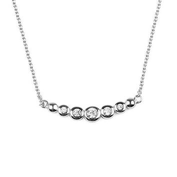SHIP BY USPS: Sterling Silver Bezel Set White Cubic Zirconia Simulated Diamond Circle Pendant Necklace