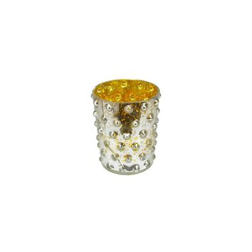 """5"""" Gold and Silver Hobnail Mercury Glass Decorative Votive Candle Holder"""