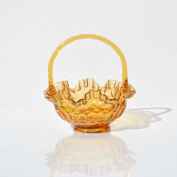 Fenton Amber HoneyComb Ruffled Basket,Vintage Yellow Glass Thumbprint Basket, Decorative Glass, Glass Art,Home Decor, Amber Glass