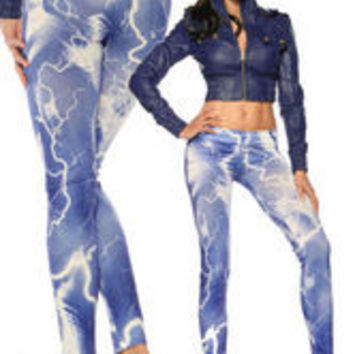 Lightning printed sexy fashion leggings