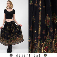 vintage 70s skirt vintage 1970s skirt vintage boho bohemian black emrbroidered indian skirt vintage hippie gypsy drawstring skirt