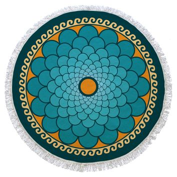 Turquoise and Green Turkish Cotton Round Beach Towel