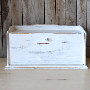 Vintage White Shabby Chic Distressed Wooden Bread Box