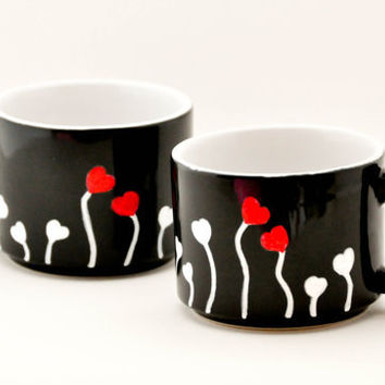 Love and Hearts Coffee Mugs - Hand painted hot chocolate cups - made to order - set of two black mugs - Red, White, Black