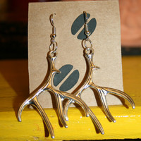 Silver Deer Antler Earrings