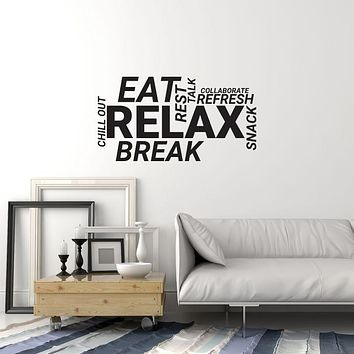 Vinyl Wall Decal Break Room Office Words Cloud Decoration Idea Stickers Mural (ig6013)