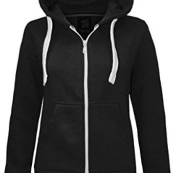 NEW LADIES WOMENS PLAIN HOODIE HOODED ZIP TOP ZIPPER SWEATSHIRT JACKET COAT Navy UK 14 / AUS 16 / US 10