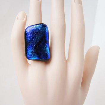 Eye Catching Adjustable Statement Ring, Big Bold Ring, Fused Glass Ring, Dichroic Glass, Cocktail Ring, Multi-Colored Ring