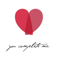 Red Heart Valentine's Day Love Art Print - You Complete Me Poster - Love Quote Wall Decor 8x10 Love / Home / Inspirational Art