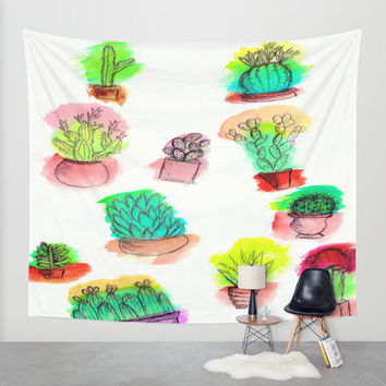 Colored Cactus Wall Tapestry by Yuval Ozery