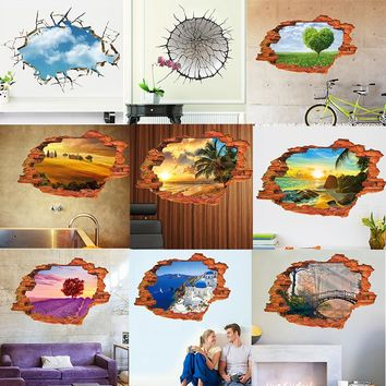 ceiling Sea Ocean Tree Blue Sky 3D landscape painting window hole wall sticker home decals for couple house wedding decorative