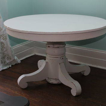 custom order Antique Dining Table White Distressed Shabby Chic round pedestal Cottage Prairie kitchen
