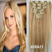 """22"""" Clips In Remy Human Hair Extension Attach Straight 18/613 Light Caramel Brown&Blond"""