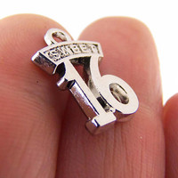 7 Sweet 16 charms, silver sweet sixteen charm, 16th birthday charms, sixteenth birthday charms, wholesale charms, bulk charms, number charms