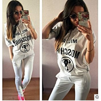 Moschino Spring hot fashion sports suit European station European and American short-sleeved women
