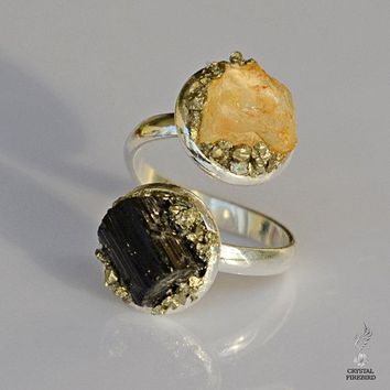Raw Black Tourmaline and Citrine Ring