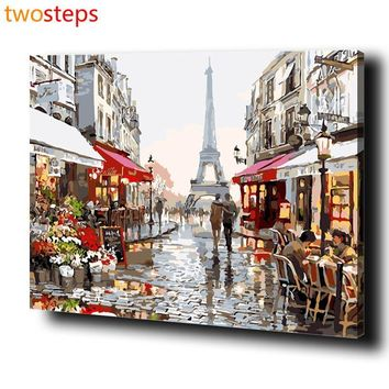 TwoSteps Paris Street DIY Digital Canvas Oil Painting By Numbers Pictures Coloring By Numbers Large Acrylic Paint By Number Kits