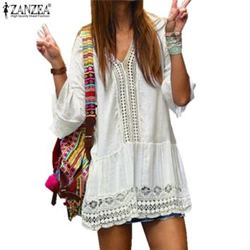 Boho ZANZEA Summer Women Beach Dress 3/4 Flare Sleeve V Neck Lace Floral Crochet Hollow Out Solid White Dress Mini Vestido