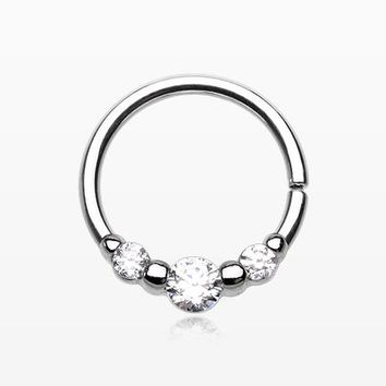Triple Sparkle Steel Bendable Twist Loop Ring