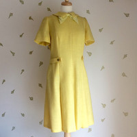 1960's Sunny Yellow Dress / Collar and Bow / Pleated Skirt / 60s Vintage