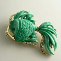 Hattie Carnegie Angel Fish Brooch Green Lucite