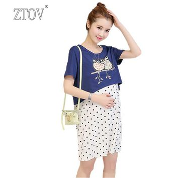 ZTOV Summer Two-piece suit Maternity nursing Dresses Breast feeding clothes for Pregnant Women Pregnancy Breastfeeding Clothing