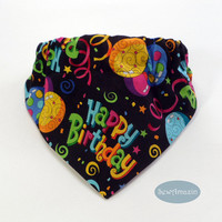 Happy Birthday Dog Bandana with Balloons, Streamers and Stars, Ready-to-ship